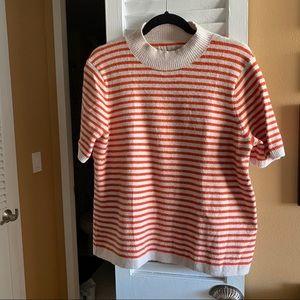 LOFT Striped Mock Neck Short-Sleeve Sweater